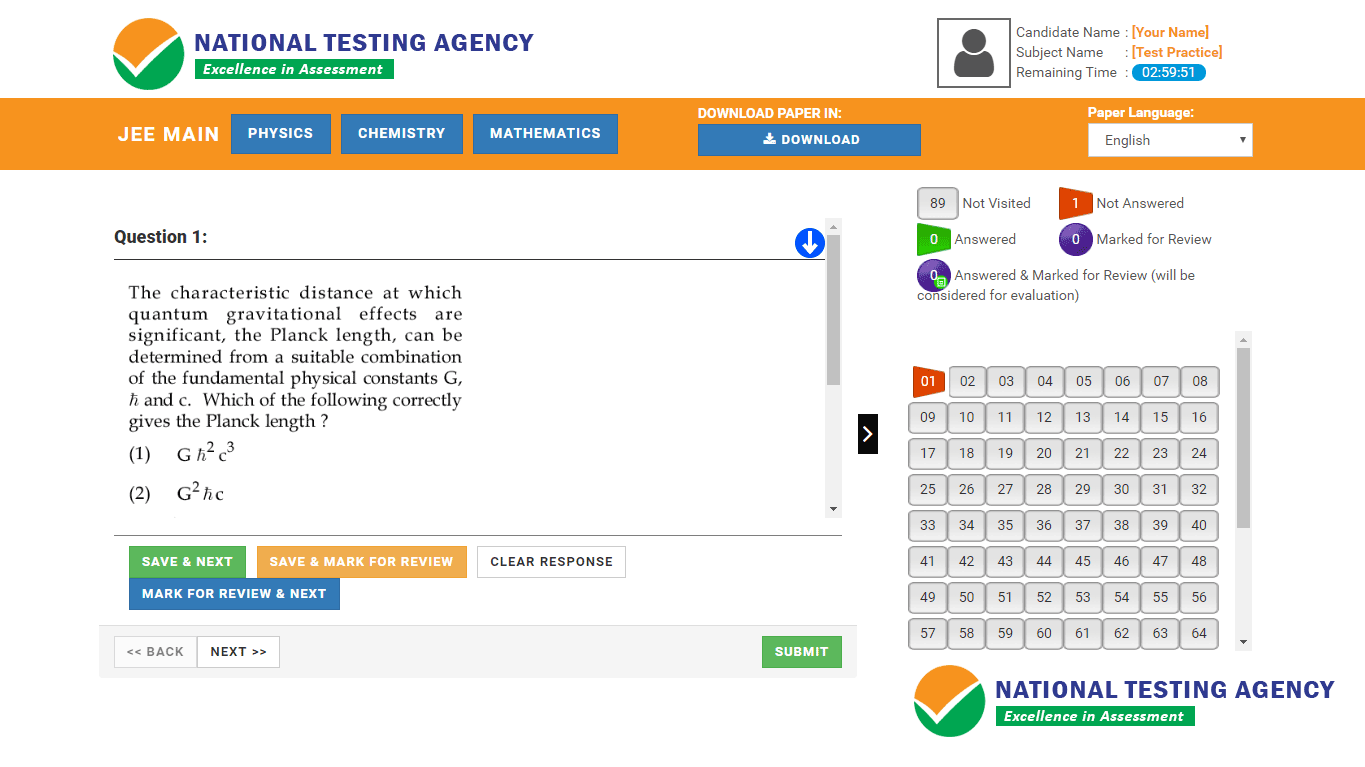 NTA Online Mock Test Platform for JEE Main